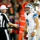 Lions quarterback Matthew Stafford gives referee Richard Nicks an earful after taking a blow to the head in a game against the San Francisco 49ers.