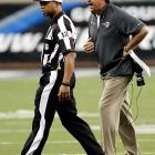 Fisher berates referee Donovan Briggans during the Rams' Week 1 game against the Lions. St. Louis's second game, against Washington, was a penalty-filled affair that drew criticism from Redskins coach Mike Shanahan as well as starting quarterback Robert Griffin III, who accused the Rams of playing dirty.