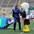 Parachute is an unusual way to come home, but at least he made it in time for the game against Kent State at Rynearson Stadium in Ypsilanti, MI.