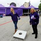 While the cookie toss is the more common activity in finer stadium parking lots (and restrooms) everywhere, these ladies enjoyed the beanbag variety before their favorite team took on Iowa State at Amon G. Carter Stadium in Fort Worth, TX.