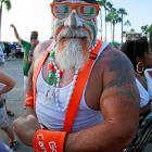 Hulk Hogan's more attractive brother makes his way into Sun Life Stadium for the big game between Miami and Florida State.
