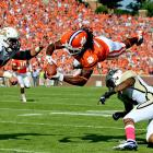 It was close throughout, but Clemson survived an ACC scare from Georgia Tech Saturday. Tajh Boyd threw for 396 yards and two touchdowns, Andre Ellington rushed for 108 yards and wideouts DeAndre Hopkins and Sammy Watkins (pictured) combined for 215 receiving yards and two scores as the Tigers took down the Yellow Jackets. After falling behind 31-30, Clemson scored the final 17 points of the game.