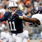 After beginning the season 0-2, Penn State has now won four straight games. Despite trailing for most of the second half, the Nittany Lions rallied past Northwestern, fueled by a gritty 35-of-51, 282-yard, two-touchdown passing performance from Matt McGloin. Zach Zwinak ran for 121 yards and a score, and Allen Robinson made nine grabs for 85 yards and two touchdowns. The Wildcats' Venric Mark scored twice in a losing effort, on a two-yard carry and a 75-yard punt return.
