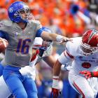 Boise State led this game 20-3 until a late Fresno State score in the closing minutes of the fourth quarter. Joe Southwick (pictured) had a mediocre day, completing 11-of-21 passes for 114 yards, one touchdown and one interception, but the Broncos held the Bulldogs to 58 net rushing yards.