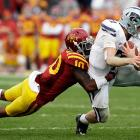Kansas State's BCS hopes are intact after surviving an upset scare at Iowa State. Collin Klein (pictured) had another huge day, rushing for 105 yards and three touchdowns and passing for 187 more yards. The K-State defense did its part as well, forcing Iowa State to go four-and-out on two potentially game-winning drives in the closing minutes.