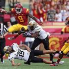Though USC's offense has struggled at times this season, it certainly looked fine in Saturday's matchup with Colorado. Matt Barkley completed 19-of-20 for 298 yards and six touchdowns, Robert Woods amassed 131 receiving yards and four scores and Marqise Lee (pictured) finished with 104 yards and a touchdown as the Trojans hung 50 points on the Buffaloes. USC will visit Arizona next weekend before hosting Oregon Nov. 3.