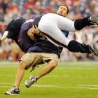 The Texans' mascot wreaked havoc on Tennessee Titans fans during Houston's 38-14 home win at Reliant Stadium.