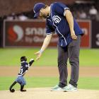 Monkeying around during an animal practice at the aptly-named Petco Park.
