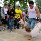 Bringing home the bacon in Hengyang, Hunan province: A swarthy contestant hauls two porkers, each weighing in excess of 110 pounds, along a 30-meter course that ends, we assume, with a plate of eggs and a satisfied belch.