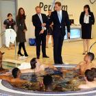 Clearly not amused, the Duke of Cambridge gives the bum's rush to a bunch of soccer players he discovered lounging in the hydrotherapy suite's wishing well at the National Football Center in Burton-upon-Trent, England.