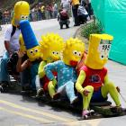 Welcome to another fast-paced edition of  Did You See That? , the photo gallery where it's all downhill from here...or Springfield...or Medellin, Colombia, where America's favorite nuclear family was spotted on a roll.