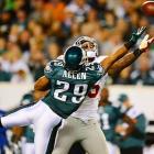 The Eagles' Nate Allen breaks up pass intended for the Giants' Martellus Bennett.