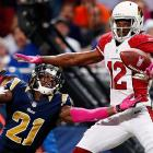 The Rams' Janoris Jenkins breaks up a pass intended for the Cardinals' Andre Roberts during a Thursday night game at the Edward Jones Dome in St. Louis.