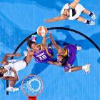 Nneka Ogwumike (30) and DeLisha Milton-Jones (8) of the Los Angeles Sparks go for a rebound against Amber Harris (6) of the Minnesota Lynx during Game 1 of the WNBA Western Conference Finals.