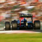 Sebastian Vettel of Germany and Red Bull Racing drives on his way to winning the Japanese Formula One Grand Prix at the Suzuka Circuit in Suzuka, Japan.