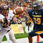 Central Michigan wide receiver Courtney Williams prepares to make a  touchdown catch in the corner of the end zone against Toledo.