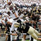 Army defensive back Alex Meier (23) tries to break up a pass intended for Boston College receiver Colin Larmond during a game at Michie Stadium in West Point, N.Y.