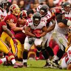 The Falcons' line cleared the way for Michael (the Burner) Turner during a 24-17 victory over the Redskins at FedEx Field in Landover, Md. on Sunday. Atlanta did most of its damage through the air -- Matt Ryan passed for 345 yards -- as it went to 5-0 for the first time in team history.