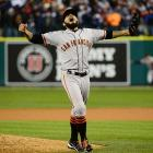 Sergio Romo looks to the sky, seconds after recording the final out of the 2012 World Series.