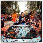 Buster Posey and his wife at today's Giants parade in SanFrancisco..