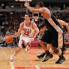 Life without Derrick Rose is nothing new for the Bulls, who went 18-9 without the former MVP last season, but this time around might be different. There's no clear timetable for Rose's return from ACL surgery, forcing coach Tom Thibodeau to put together a patchwork offense with the help of point guard Kirk Hinrich (left). We'll get a sense of how effective that offense will be when the Bulls play the Grizzlies on Oct. 9.