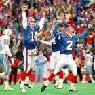 The Bills beat the Oilers 41-38 in what is still regarded as the greatest comeback in NFL history. The Oilers led Buffalo 35-3 in the third quarter before the Bills scored five consecutive touchdowns, four thrown by backup quarterback Frank Reich. Steve Christie kicked the game-winning field goal in overtime to cap the comeback.
