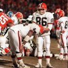 "The Browns and Broncos met again, but this time in the AFC Divisional Playoffs. The Broncos led 21-3 at half, but could not stop Browns' quarterback Bernie Kosar, who threw four second-half touchdown passes to bring the Browns back. The Broncos led 38-31 with just over one minute left, but Cleveland had the ball on the eight-yard line. On second down, Earnest Byner got the carry on a draw play and appeared to have an open lane to the end zone until defensive back Jeremiah Castille miraculously knocked the ball loose and recovered on the two-yard line -- the same yard line, as noted by Dick Enberg, where Elway started ""The Drive"" the year before."