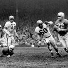 Trailing the Cleveland Browns 16-10 in the 1953 NFL Championship, Lions' quarterback Bobby Layne was driving the Lions up the field with only two minutes remaining. After a series of short passes, Layne hung a long pass up to wide receiver Jim Doran, who was wide open behind the Browns' secondary and sprinted for the game-winning touchdown.