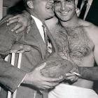 Backup quarterback Tobin Rote (pictured with Bobby Layne) rallied the Lions, who trailed 27-7 at halftime, for 24 unanswered points in the second half to knock off the 49ers 31-27 to win the 1957 Western Conference Championship Game.