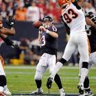 The Texans host the Cincinnati Bengals for the first playoff game in franchise history. After losing starting quarterback Matt Schaub to a foot injury in the 10th game of the season and backup Matt Leinart in the next game, backup T.J. Yates marshaled the Texans offense to end the regular season. The rookie out of North Carolina managed the offense (11-20, 159 yards, one touchdown) while running back Arian Foster starred (24 carries, 153 yards, two touchdowns) in a 31-10 win over the Bengals.