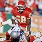 Linebacker Derrick Thomas sets a single-game record that still stands by sacking Seattle quarterback Dave Krieg seven times. He nearly notches No. 8 on the final play of the game, but Krieg wriggles free and throws a desperation, 25-yard touchdown pass to Paul Skansi that gives the Seahawks a 17-16 win.