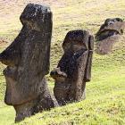 The Moai at Rano Raraku, carved from rock.