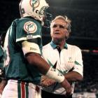 Don Shula wins his 300th game as the Dolphins defeat Green Bay 16-13. Shula joins the immortal George Halas as the only two NFL coaches to reach the 300-win plateau. By the time he retires in January 1996, Shula has the best record in league history (347-173-6, including the postseason). (Photo from different game in 1991)