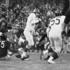 The Giants hosted the Chicago Bears, who they had tied earlier in the year during an 8-3-1 campaign, at Yankee Stadium for the NFL Championship Game. Led by quarterback Frank Gifford, as well as four other future Hall of Famers in Roosevelt Brown, Andy Robustelli, Emlen Tunnel and Sam Huff -- as well as Vince Lombardi and Tom Landry making the respective offensive and defensive calls as coordinators -- Gifford was named the MVP and the Giants slaughtered the Bears 47-7 for the franchise's third NFL title.