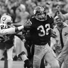 """Trailing 7-6 to the Raiders in an AFC Divisional playoff game at old Three Rivers Stadium, the Steelers had just 22 seconds on the clock as they faced fourth-and-10 from their own 40-yard line. Fullback Franco Harris collected a tipped ball as it nearly grazed the ground and ran all the way down the field for the game-clinching score in a play that is known simply as the """"Immaculate Reception."""" The victory was seemingly the franchise's turning point and put Pittsburgh on the path of four Super Bowls in six years."""