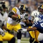 With only 1:20 remaining in a divisional playoff game against the favored Colts, the Steelers were up 21-18 on the Indianapolis 2-yard line and the game seemed in hand. While attempting to cross the goal line, Jerome Bettis inopportunely fumbled -- his first of the season -- and Colts cornerback Nick Harper had a caravan to the opposite end zone. Ben Roethlisberger made a backpedaling tackle at the Colts 42 though and Indy eventually missed a long field goal to tie. The win eventually propelled the No. 6 seed Steelers to a Super Bowl win over Seattle for the franchise's fifth championship.