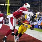 After 16 unanswered points by the Cardinals in the fourth quarter of Super Bowl XLIII to put them up 23-20, the Steelers mounted a drive from their own 12-yard line with a little over two minutes left to play. Ben Roethlisberger eventually found Santonio Holmes in the back of the end zone for a six-yard reception with just 35 seconds remaining. Holmes made the incredible tiptoe catch beyond three defenders while falling out of bounds to seal the comeback win, 27-23, making it two titles in four years, and six championships overall.