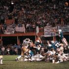Rolf Benirschke's 29-yard field goal gives San Diego a 41-38 overtime victory over Miami in the Orange Bowl, capping one of the most sensational games in NFL history. The Chargers blow an early 24-point lead but rally to tie the AFC divisional playoff on Dan Fouts' nine-yard TD pass in the final minute. Tight end Kellen Winslow is heroic, catching 13 passes for 166 yards and a TD and blocking a Miami field-goal attempt on the final play of regulation.
