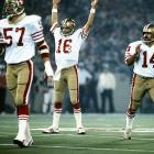 """San Francisco reaffirms its claim as """"Team of the `80s"""" with 55-10 destruction of Denver in Super Bowl XXIV as Joe Montana completes 22 of 29 passes for 297 yards and five TDs. It is the 49ers' fourth championship of the decade."""