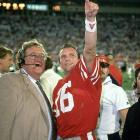 With the 49ers trailing Cincinnati 16-13, and 3:20 left in Super Bowl 23, Montana acknowledges in the huddle the presence of actor John Candy sitting in the stands, then leads a 92-yard, game-winning drive that ends in his 10-yard scoring pass to John Taylor. San Francisco wins its third Super Bowl of the decade.