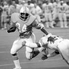 Rookie running back and Heisman Trophy winner Earl Campbell put on a show on Monday Night Football as he rushed for 199 yards and four touchdowns in a 35-30 victory over Miami. It arguably is the most memorable single-game performance in the Hall of Famer's career.
