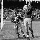 Sammy Baugh throws four TDs, intercepts an NFL-record four passes and adds an 81-yard punt in perhaps the greatest all-around game in league history as the Redskins batter the Detroit Lions 42-20. Baugh finishes the '43 season with an unprecedented triple crown: first in passing, first in interceptions and first in punting.