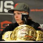 Rousey takes questions from the media after her victory over Tate.