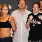 Rousey and Sarah D'Alelio pose at the weigh-in before their Strikeforce match in Las Vegas.