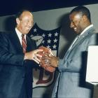 After failing to signing with the Bucs the previous year, Jackson was back in the NFL Draft in 1987. Here, NFL commissioner Pete Rozelle hands Jackson a football after the running back was selected in the 7th round by the L.A. Raiders.