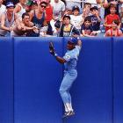 Jackson robs Yankees batter Jack Clark of a home run during a 1988 game.
