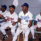 Jackson sits between American Leaguers Jeffrey Leonard, Kirby Puckett and Julio Franco during the 1989 All-Star Game at Anaheim Stadium.
