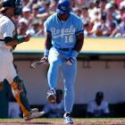 Upset after striking out, Jackson breaks his bat over his knee. Overall, though, 1990 was a good year for Jackson, who hit 28 home runs and 78 RBIs in just 111 games.