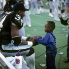 Jackson sits on the bench after injuring his hip during a 1990 AFC Divisional Playoff game against the Bengals. The injury nearly ended Jackson's NFL career and made him get a hip replacement.