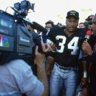 O.J. Simpson interviews Jackson after the Raiders defeated the Bengals in an AFC Divisional playoff game. It would be Jackson's final NFL game, as he suffered a career-ending hip injury that day.